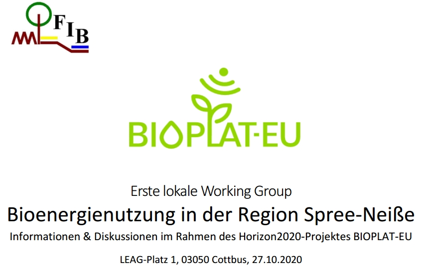 Germany's first BIOPLAT-EU workshop to be organised on 27 October 2020 in Cottbus