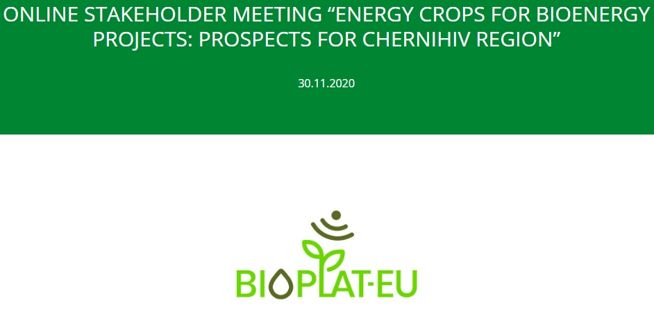 "Online Stakeholder meeting ""Energy crops for bioenergy projects: prospects for Chernihiv region"